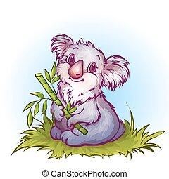 vetorial, ilustração, de, koala, em, caricatura, estilo