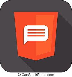 vetorial, ilustração, de, laranja, escudo, com, html, cinco, mensagem, sinal, isolado, web site, desenvolvimento, ícone, fundo branco