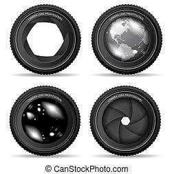 vetorial, ilustração, de, lente câmera