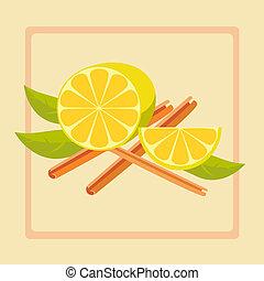 vetorial, ilustração, de, limão, e, canela