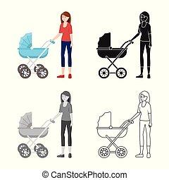 vetorial, ilustração, de, mãe, e, pram, sinal., jogo, de,...