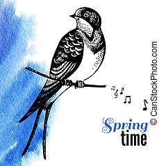vetorial, ilustração, de, mão, desenhado, esboço, bird.,...