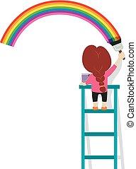 vetorial, ilustração, de, menininha, quadro, um, arco íris, ligado, parede