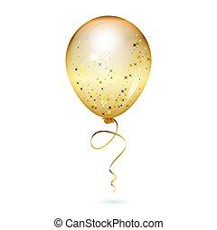 vetorial, ilustração, de, ouro, brilhante, balloon
