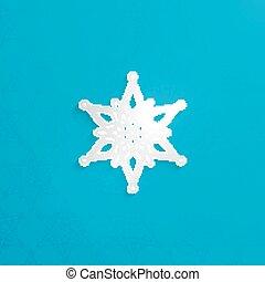 vetorial, ilustração, de, papel natal, 3d, snowflake, com, sombra