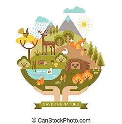 vetorial, ilustração, de, proteção, nature.