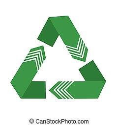 vetorial, ilustração, de, símbolo reciclando, isolado, branco