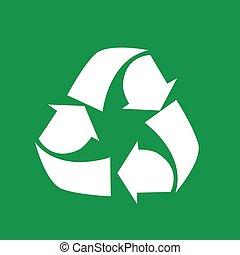 vetorial, ilustração, de, símbolo reciclando