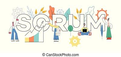 vetorial, ilustração, de, scrum, texto, desenho, -, ágil, planificação, técnica, de, trabalho equipe, ligado, software, development.