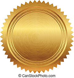 vetorial, ilustração, de, selo ouro