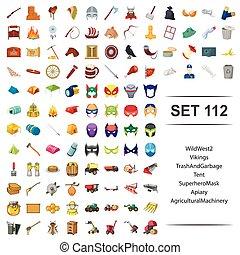 vetorial, ilustração, de, selvagem, oeste, vikings, lixo, lixo, barraca, superhero, máscara, apiário, maquinaria agrícola, ícone, set.