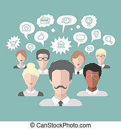 vetorial, ilustração, de, social, mídia, ícones, em, fala, bolhas, com, grupo pessoas, em, trendy, apartamento, style.