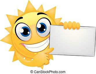 vetorial, ilustração, de, sol, mascote, segurando, um, em branco, tábua