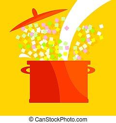 vetorial, ilustração, de, sopa, pot., simples, alimento, vetorial, icon.