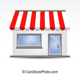 vetorial, ilustração, de, storefront, um