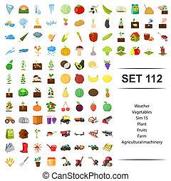 vetorial, ilustração, de, tempo, vegetal, planta, fruta, fazenda, maquinaria agrícola, ícone, set.