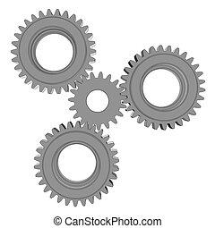 vetorial, ilustração, de, três, metal, engrenagens
