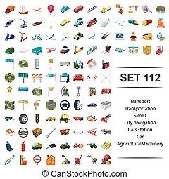 vetorial, ilustração, de, transporte, car, maquinaria agrícola, ícone, set.