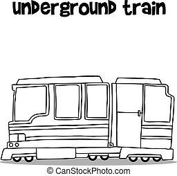 vetorial, ilustração, de, trem subterrâneo