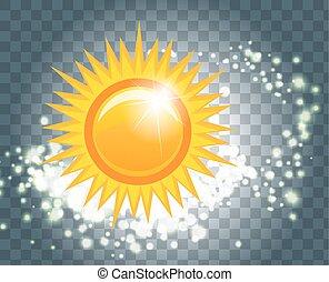 vetorial, ilustração, de, um, abstratos, sol