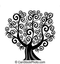 vetorial, ilustração, de, um, cacho, árvore, isolado, branco, fundo