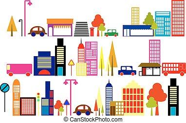 vetorial, ilustração, de, um, cidade
