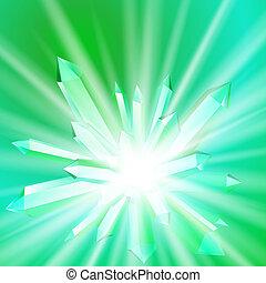 vetorial, ilustração, de, um, cristal, com, raios