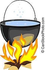 vetorial, ilustração, de, um, fogo, e, um, pote