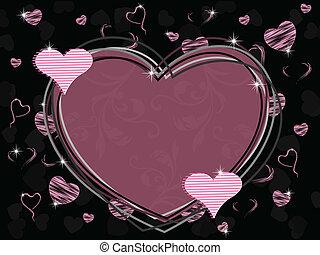 vetorial, ilustração, de, um, forma coração, quadro, com, seamless, floral, trabalho, e, brilhante, forma coração, com, textura, ligado, experiência preta, para, valentines, day.