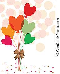vetorial, ilustração, de, um, grupo, coloridos, corações, forma, laço, com, fitas, ligado, seamless, círculo, fundo, para, valentine, day.