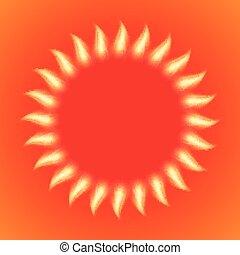 vetorial, ilustração, de, um, inflamável, sol