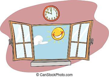 vetorial, ilustração, de, um, janela, sol