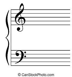vetorial, ilustração, de, um, musical, aduela