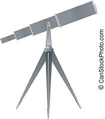 vetorial, ilustração, de, um, telescópio