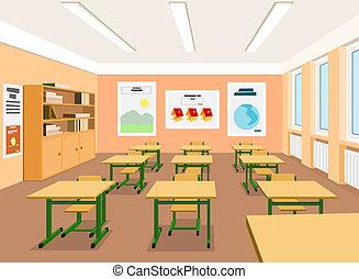vetorial, ilustração, de, um, vazio, sala aula