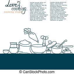 vetorial, ilustração, de, utensílios cozinha, com,...