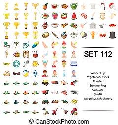 vetorial, ilustração, de, vencedor, copo, vegetariano, pratos, teatro, verão, descanso, cuidado pele, maquinaria agrícola, ícone, set.
