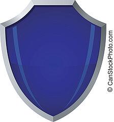 vetorial, ilustração, de, vidro azul, escudo, em, um, aço, quadro