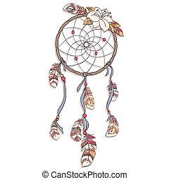 vetorial, ilustração, dreamcatcher