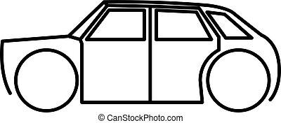 vetorial, ilustração, hatchback, ícone, isolado, car