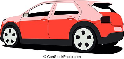 vetorial, ilustração, hatchback, realístico, vermelho,...