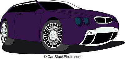 vetorial, ilustração, hatchback, roxo, isolado