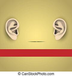 vetorial, ilustração, human, orelhas