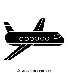 vetorial, ilustração, -, isolado, sinal, avião, experiência preta, ícone, avião