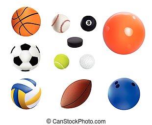 vetorial, ilustração, jogo, de, realístico, desporto, balls., isolado, branco, fundo
