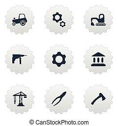 vetorial, ilustração, jogo, de, simples, industrial, icons., elementos, cortando, ferramenta, agricultura, transporte, cavador, e, outro, synonyms, ferramenta, cavador, e, academy.