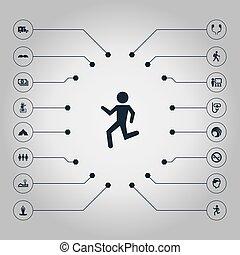 vetorial, ilustração, jogo, de, simples, ioga, icons.,...