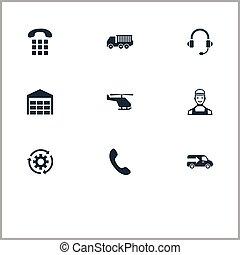 vetorial, ilustração, jogo, de, simples, logística, icons., elementos, helicóptero, armazenamento, furgão, e, outro, synonyms, números, período, e, cogwheel.