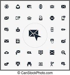 vetorial, ilustração, jogo, de, simples, mensagem, icons.,...