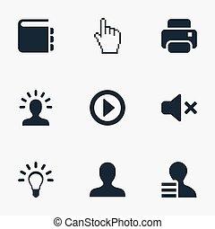 vetorial, ilustração, jogo, de, simples, teia, icons., elementos, criatividade, ponteiro, perfil, e, outro, synonyms, inovação, analista, e, silence.